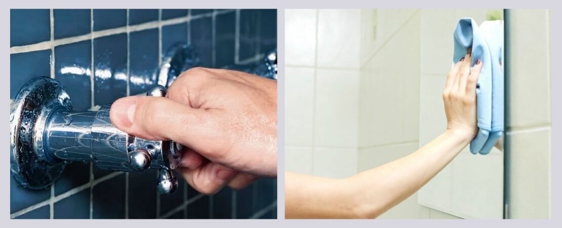 More the moisture in bathroom more will be growth of microbes. Turn off shower properly, clean a mirror with a piece of cloth.