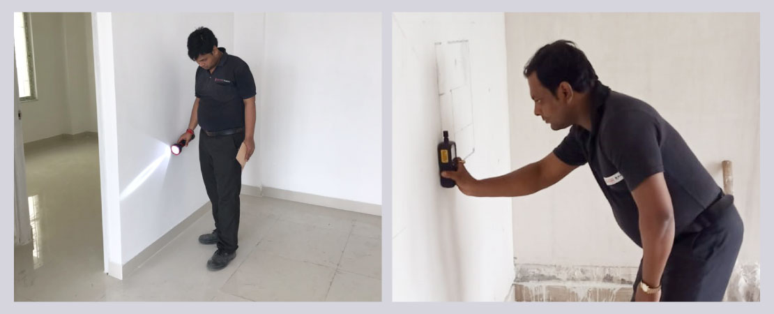 Home Inspection team uses state-of-the-art moisture detection tools to look for moisture within the walls.