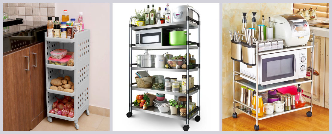 Racks with wheels are the ultimate organizers and space saviours with their narrow shape in kitchen.