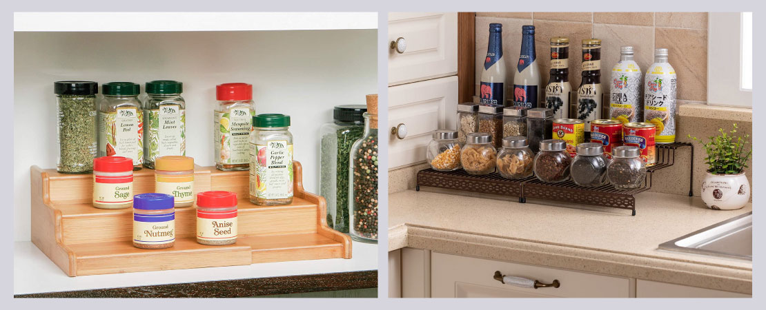 Step-style shelves designed especially for cabinets can be your saviour in keeping organized kitchen.