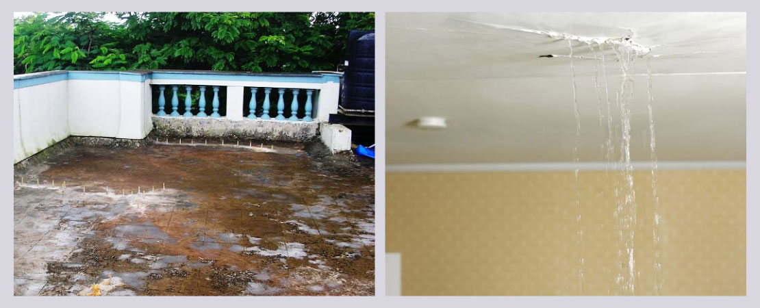 A poorly maintained or damaged roof/ terrace can lead to future problems including water seepage.