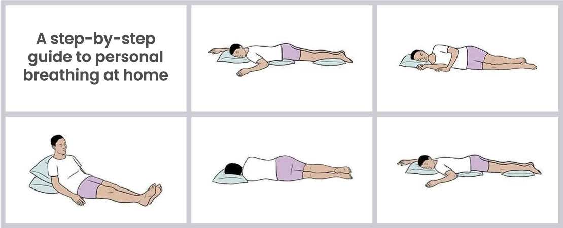 A step-by-step guide to prone position breathing at home.