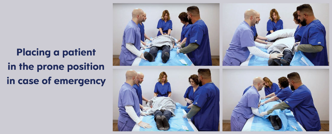 A five-step process to place a patient in the prone position in the case of emergency.